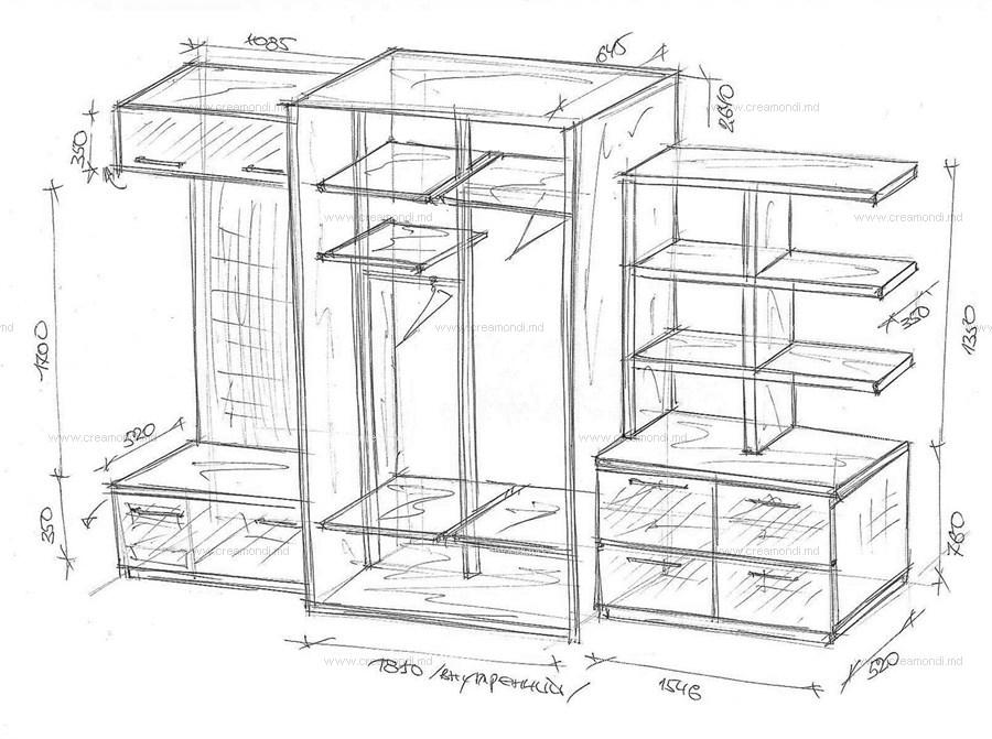 Прихожая со шкафом-купе. в молдове. эскизы и чертежи мебели .