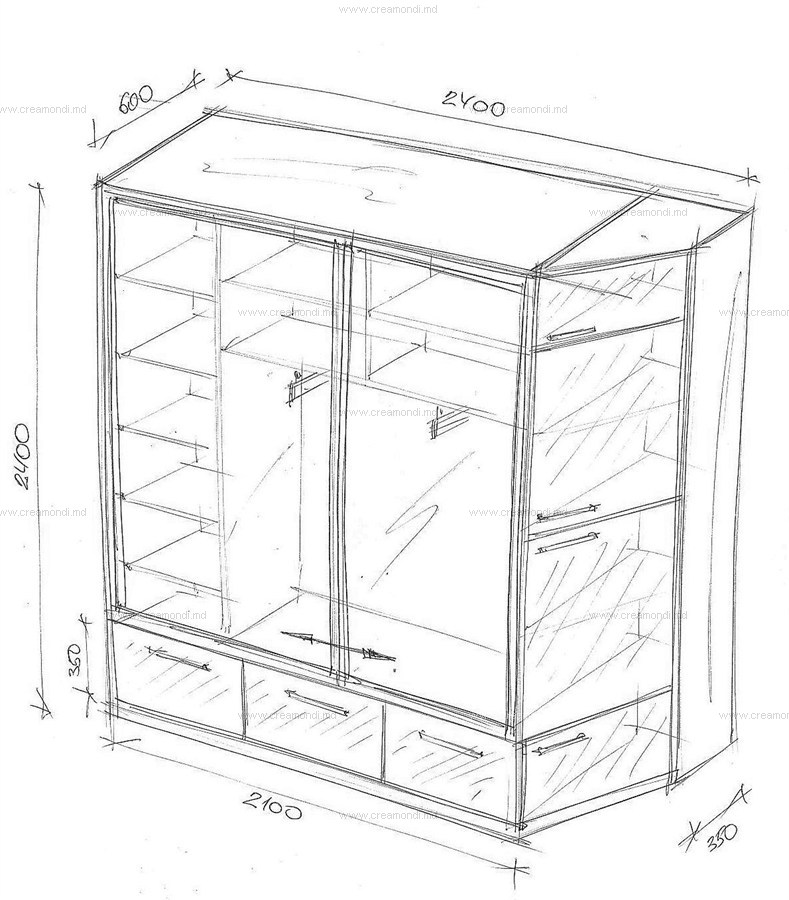 Шкаф-купе dulap в молдове. эскизы и чертежи мебели от creamo.