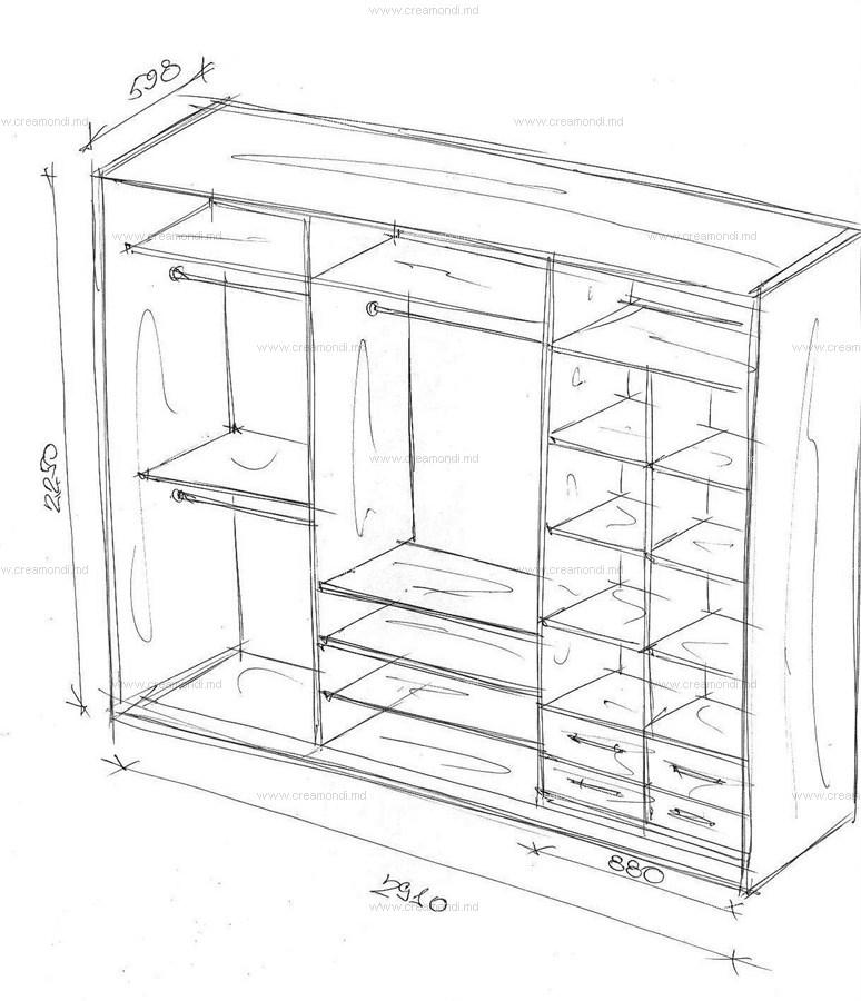 Чертежи шкафов и схемы шкафов-купе