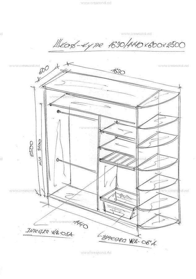 Шкаф-купе в выдвижными корзинами. в молдове. эскизы и чертеж.