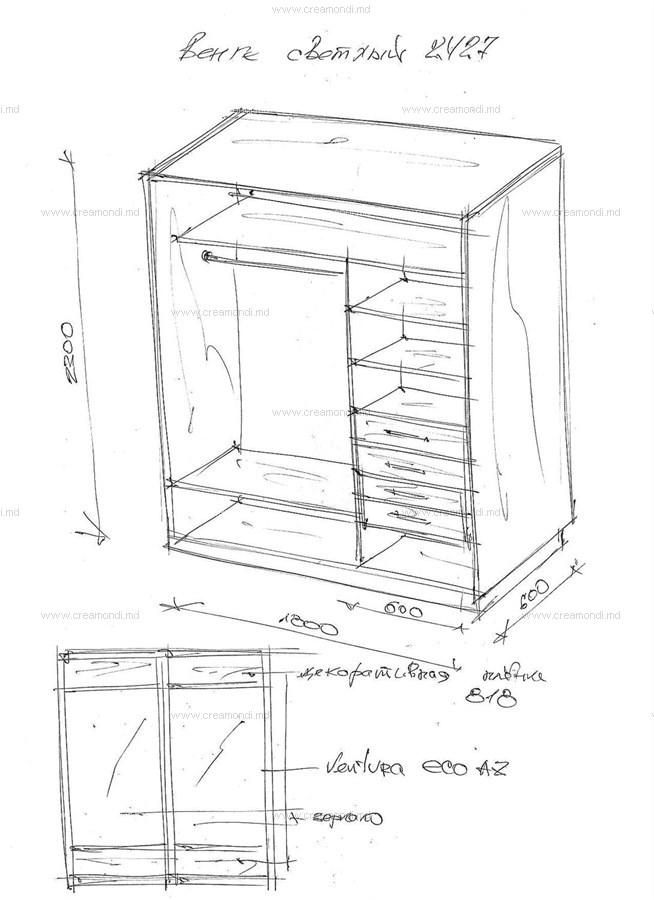Шкаф-купе в прихожую. в молдове. эскизы и чертежи мебели от .