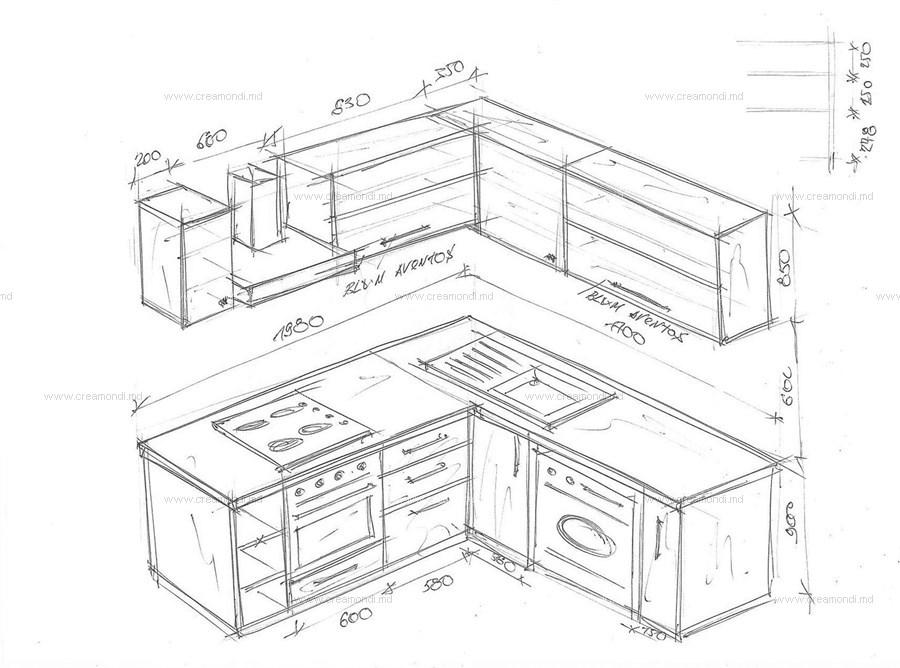 Схема и чертеж на угловую кухню