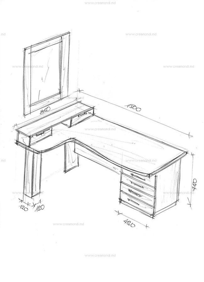 Стол для компьютера косметическим блоком. в молдове. эскизы .