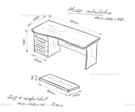 Небольшой стол для компьютера с подвесной полкой в молдове. .