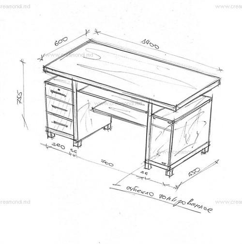 Стол для компьютера в молдове. эскизы и чертежи мебели от cr.