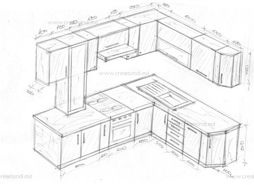Угловые кухни фото чертежи