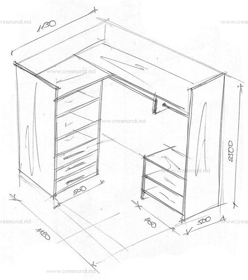 Небольшая гардеробная комната в молдове. эскизы и чертежи ме.
