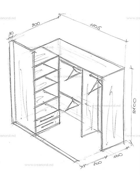 Эскиз гардеробной с размерами полок своими руками