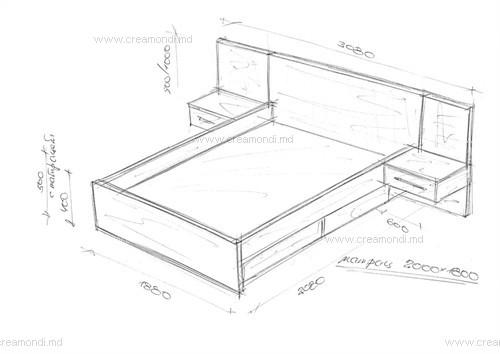 Кровать двуспальная, чертежи и сборочные эскизы.