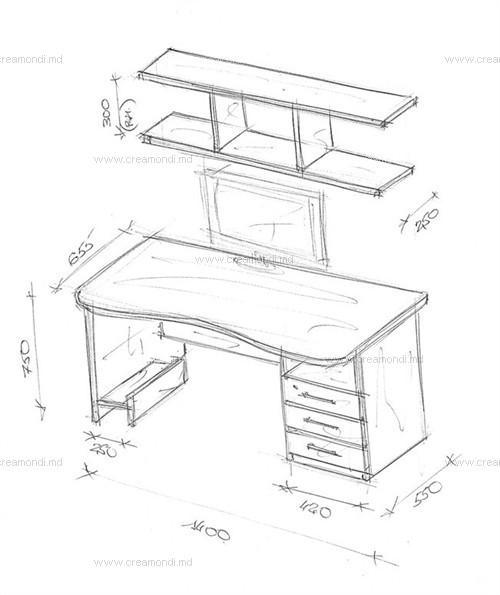 Стол для занятий с надстройкой в молдове. эскизы и чертежи м.