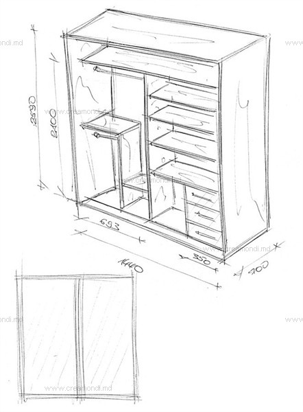 Шкаф-купе на балкон в молдове. эскизы и чертежи мебели от cr.