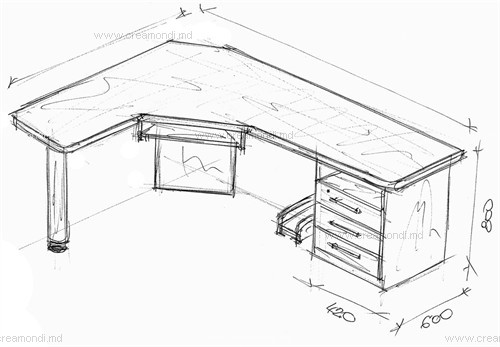 Стол для компьютера угловой в молдове. эскизы и чертежи мебе.