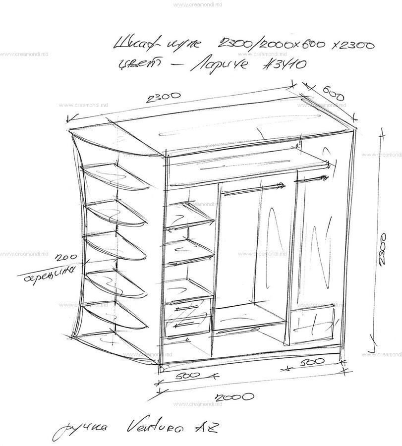 Шкаф купе в прихожую размеры чертежи