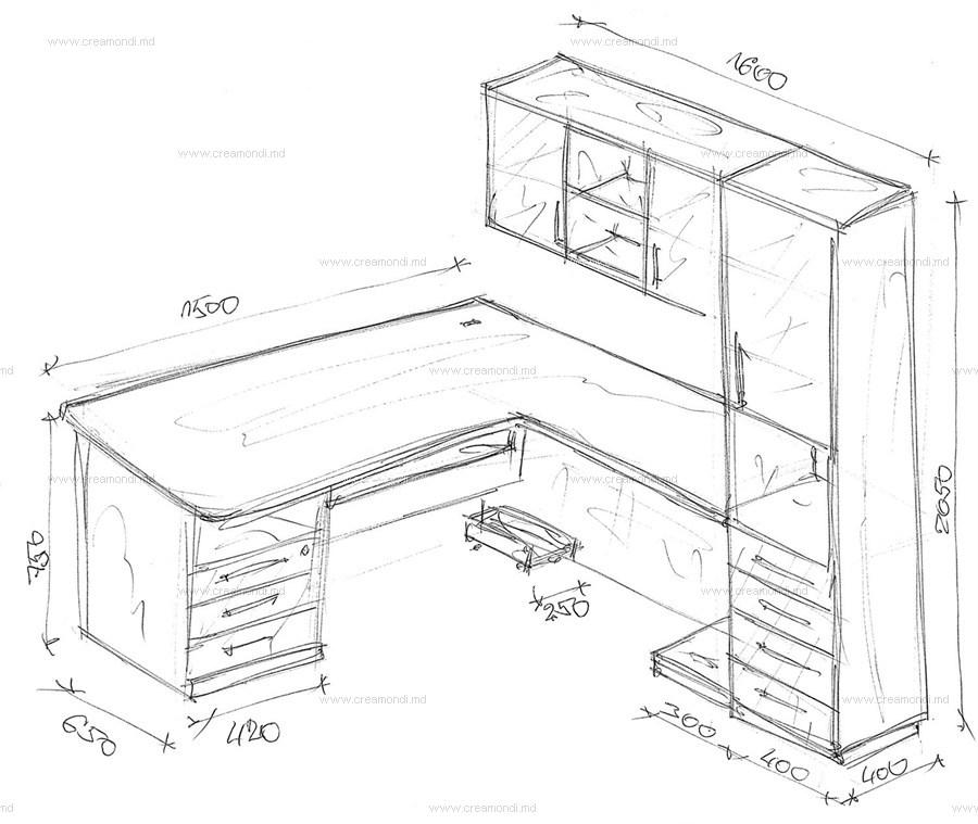 Стол угловой с пеналом в молдове. эскизы и чертежи мебели от.