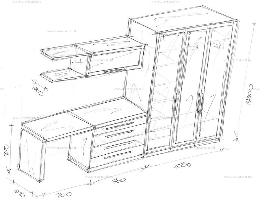 Шкаф-купе и стол для компьютера в молдове. эскизы и чертежи .