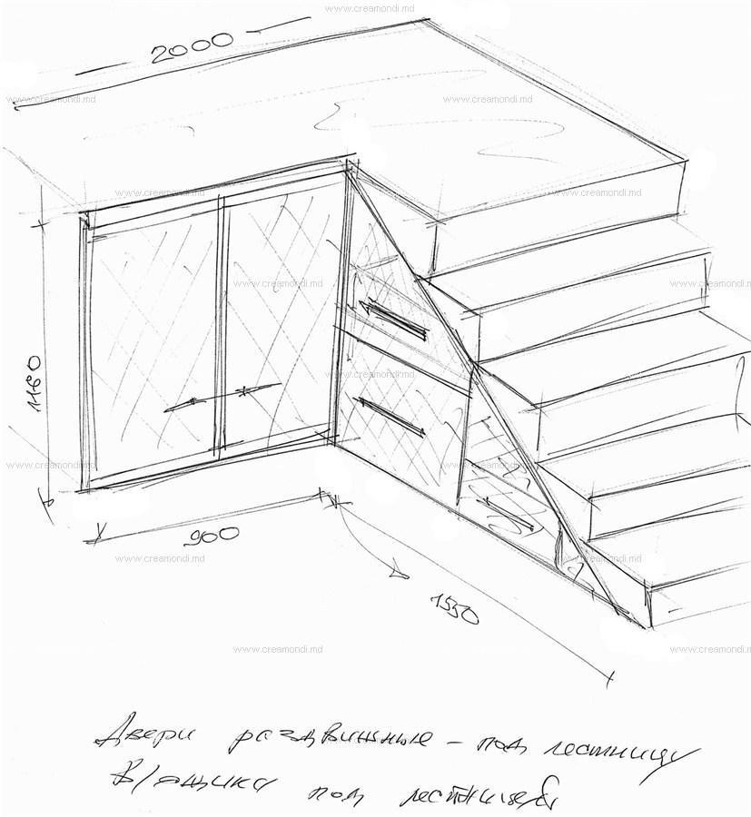 Шкаф-купе под лестницу.