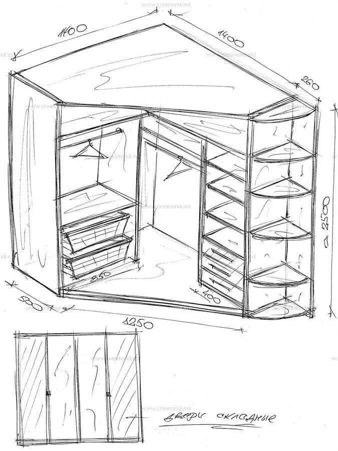 Встроенный угловой шкаф своими руками чертежи и схемы 667