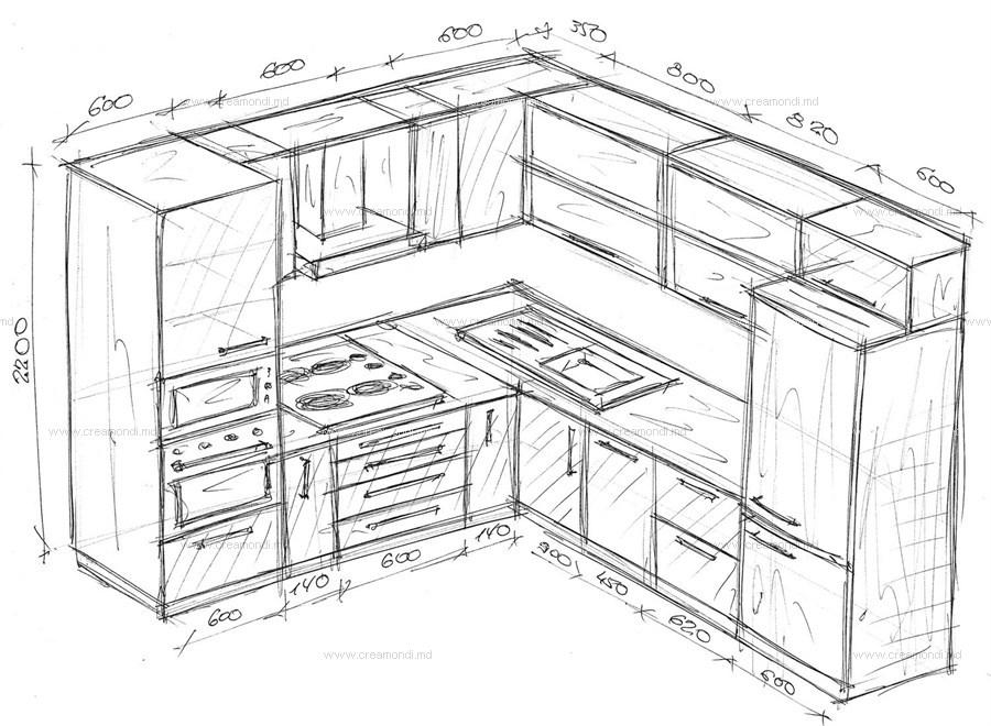 чертеж угловой кухни с