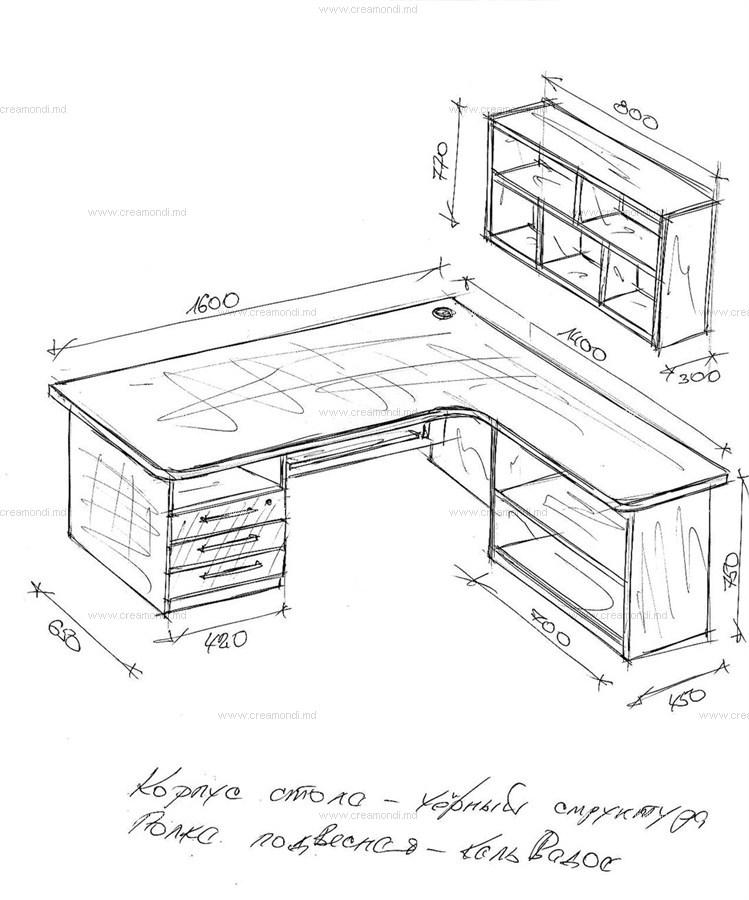 Стол угловой с надстройкой в молдове. эскизы и чертежи мебел.
