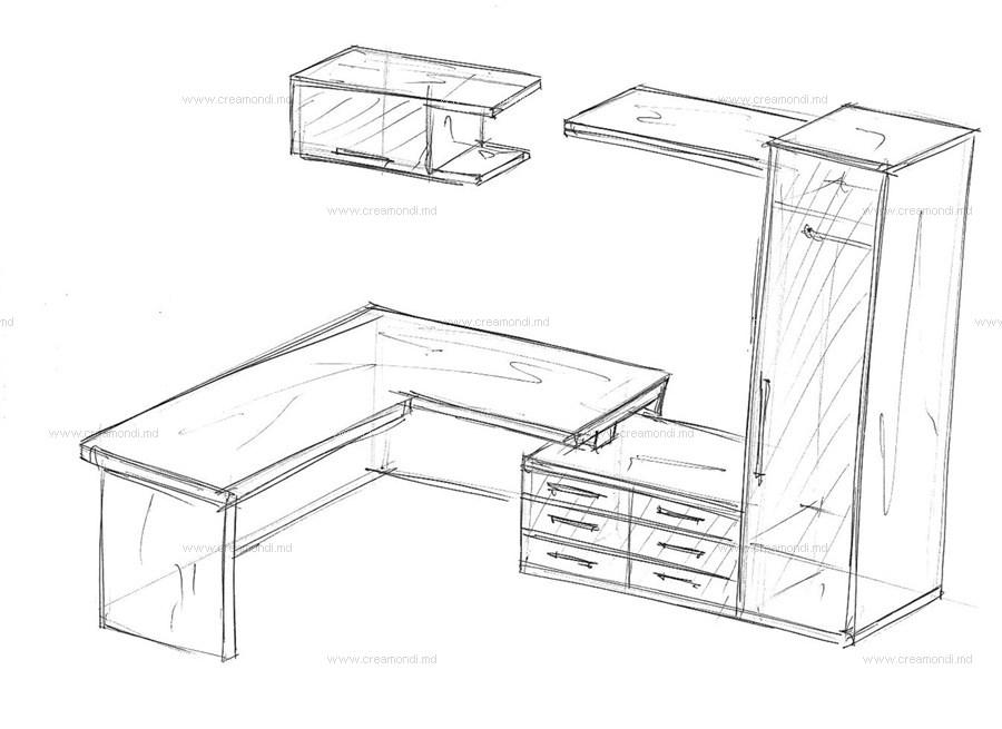 Эскизы угловой стол.