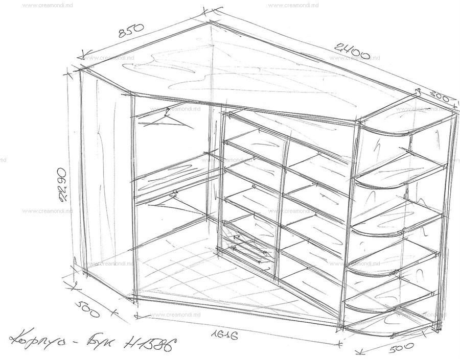 угловой шкаф чертеж - Мебель