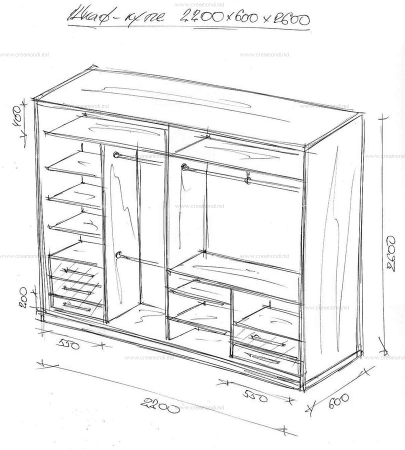 Шкафы-купе в спальню внутри с размерами своими руками