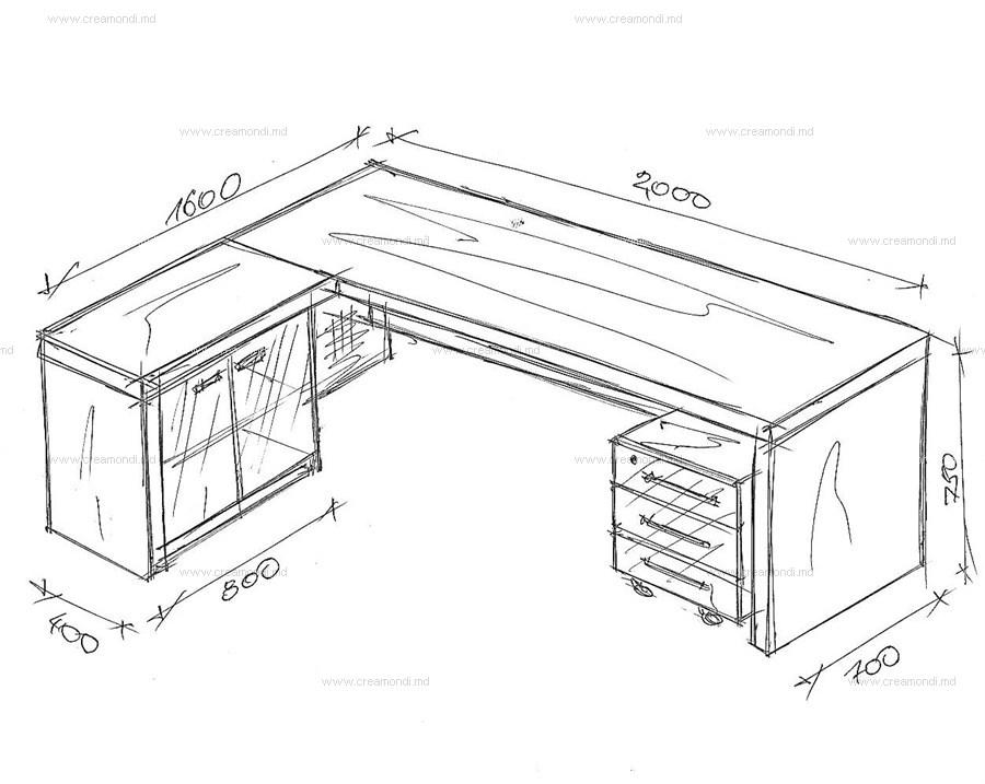 Стол угловой . в молдове. эскизы и чертежи мебели от creamon.