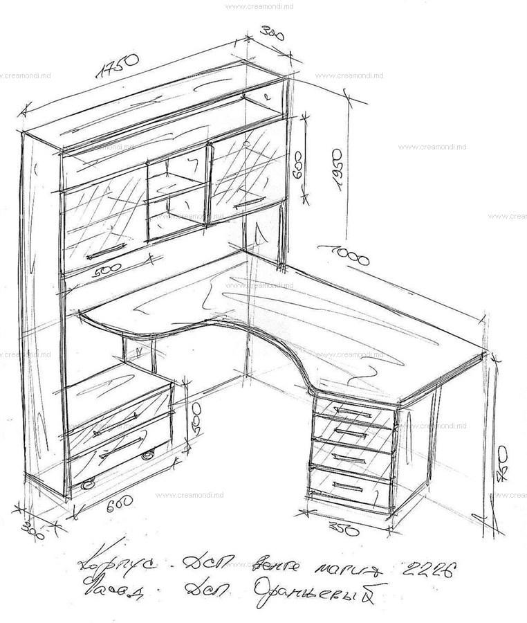 Угловой письменный стол своими руками чертежи