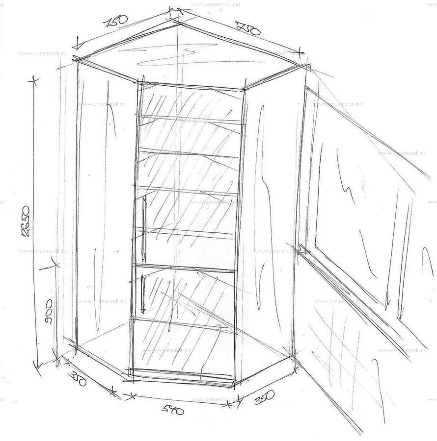 эскиз углового шкафа купе: