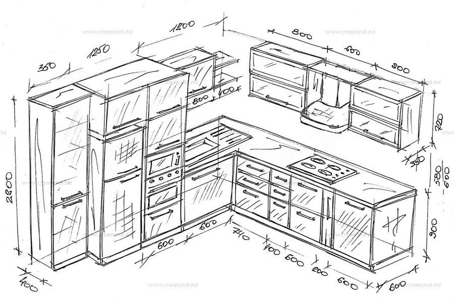 Как сделать чертеж встроенной кухни