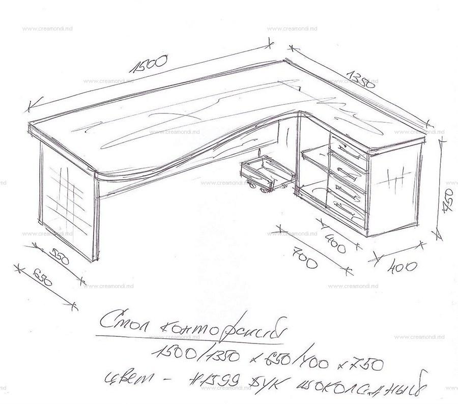 Стол для компьютера угловой. в молдове. эскизы и чертежи меб.