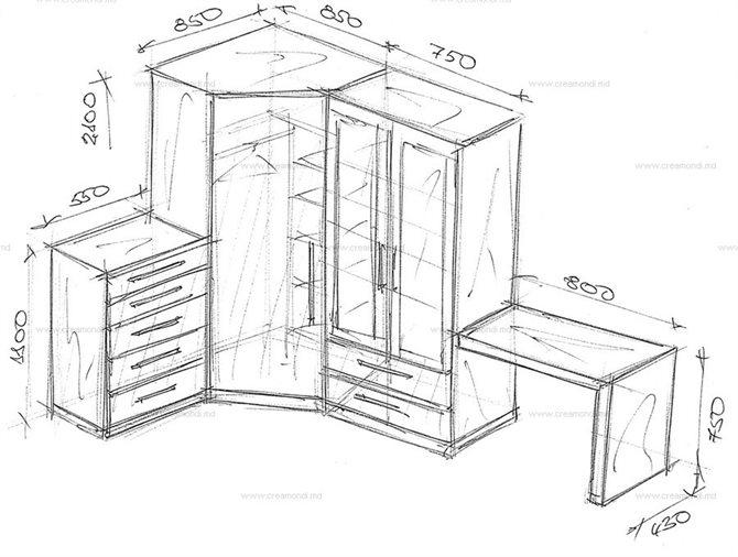 Угловой шкаф с комодом и косметическим столом